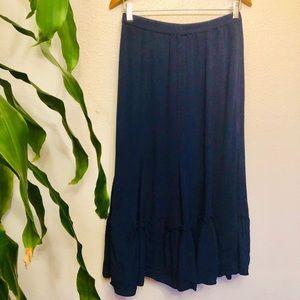 Coldwater Creek Navy Blue Boho Maxi Skirt